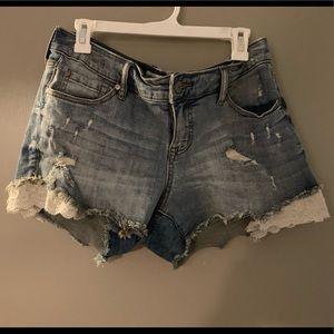 Distressed sparkle torrid denim shorts